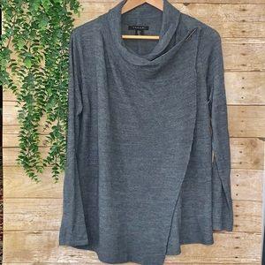 Tahari wool sweater wrap cardigan NEW gray soft M
